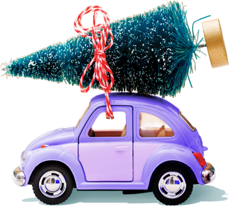 Car with a christmas tree on top