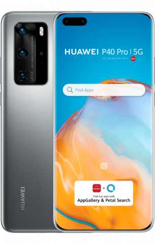 HUAWEI P40 pro silver back to back