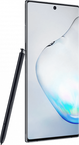 Samsung Galaxy Note10+ Aura Black angled with pen