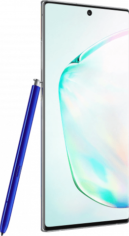 Samsung Galaxy Note10+ Aura Glow angled with pen