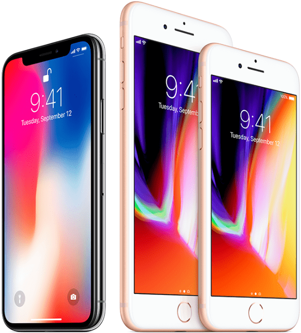 iPhone X, iPhone 8 Plus, and iPhone 8